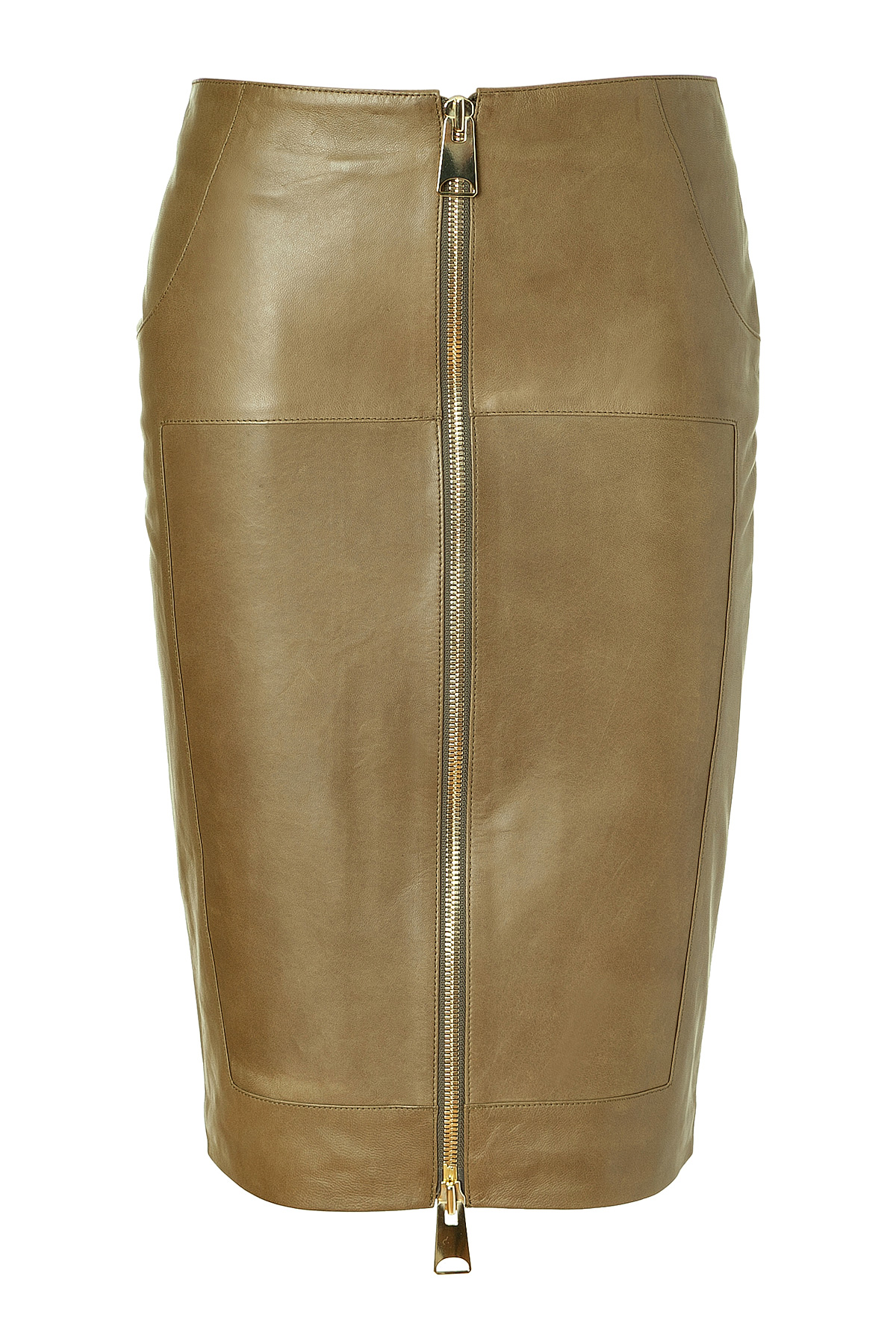 Hakaan Khaki Leather Pencil Skirt in Natural - Save 28% | Lyst
