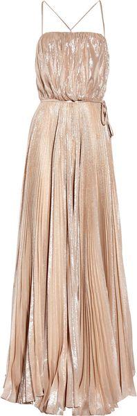 Halston Heritage Metallic Silk Pissé Gown in Beige (nude)