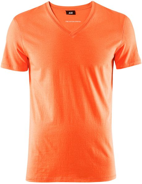 Orange V Neck T Shirt Mens