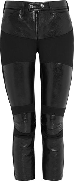 Junya Watanabe Leather Paneled Cropped Pants in Black