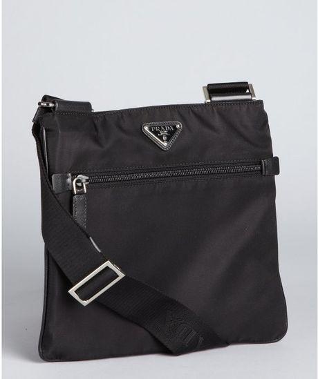 Prada  Nylon Zip Small Messenger Bag in Black for Men