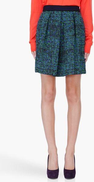 Proenza Schouler Green Indigo Tweed Skirt in Blue (green)