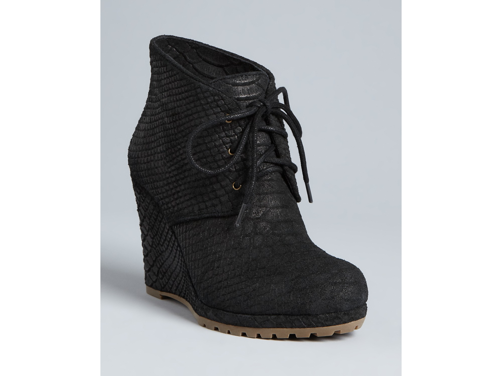 Rosegold Lace Up Wedge Platform Booties Bevin In Black