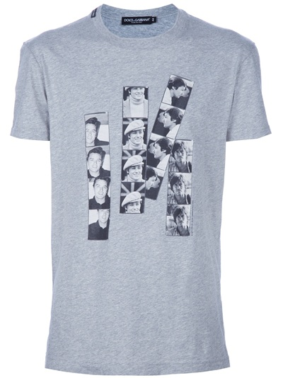 be6a7eb2a00fe3 Dolce   Gabbana Alain Delon Printed T-shirt in Gray for Men - Lyst