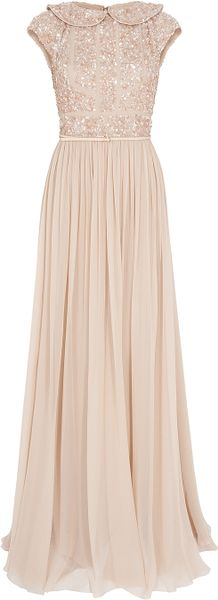Elie Saab Cap Slb Beaded Top Silk Gown in Pink (gold)