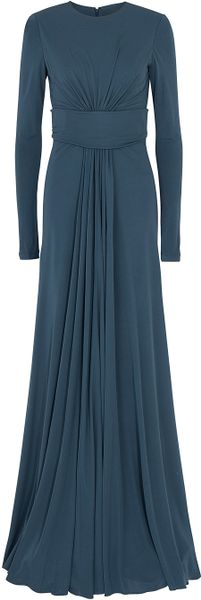 Elie Saab Jersey Gown in Blue - Lyst