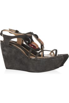 Marni Embellished Suede Wedge Sandals - Lyst