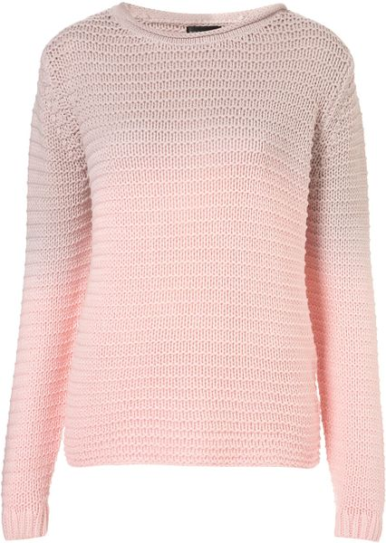 Topshop Knitted Dip Dye Chunky Jumper in Pink (bubblegum pink)