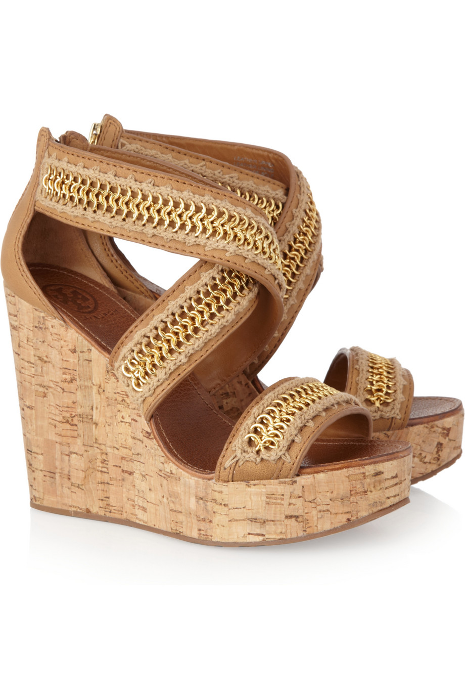 21fb463c2 Tory Burch Lucian Leather and Cork Wedge Sandals in Natural - Lyst