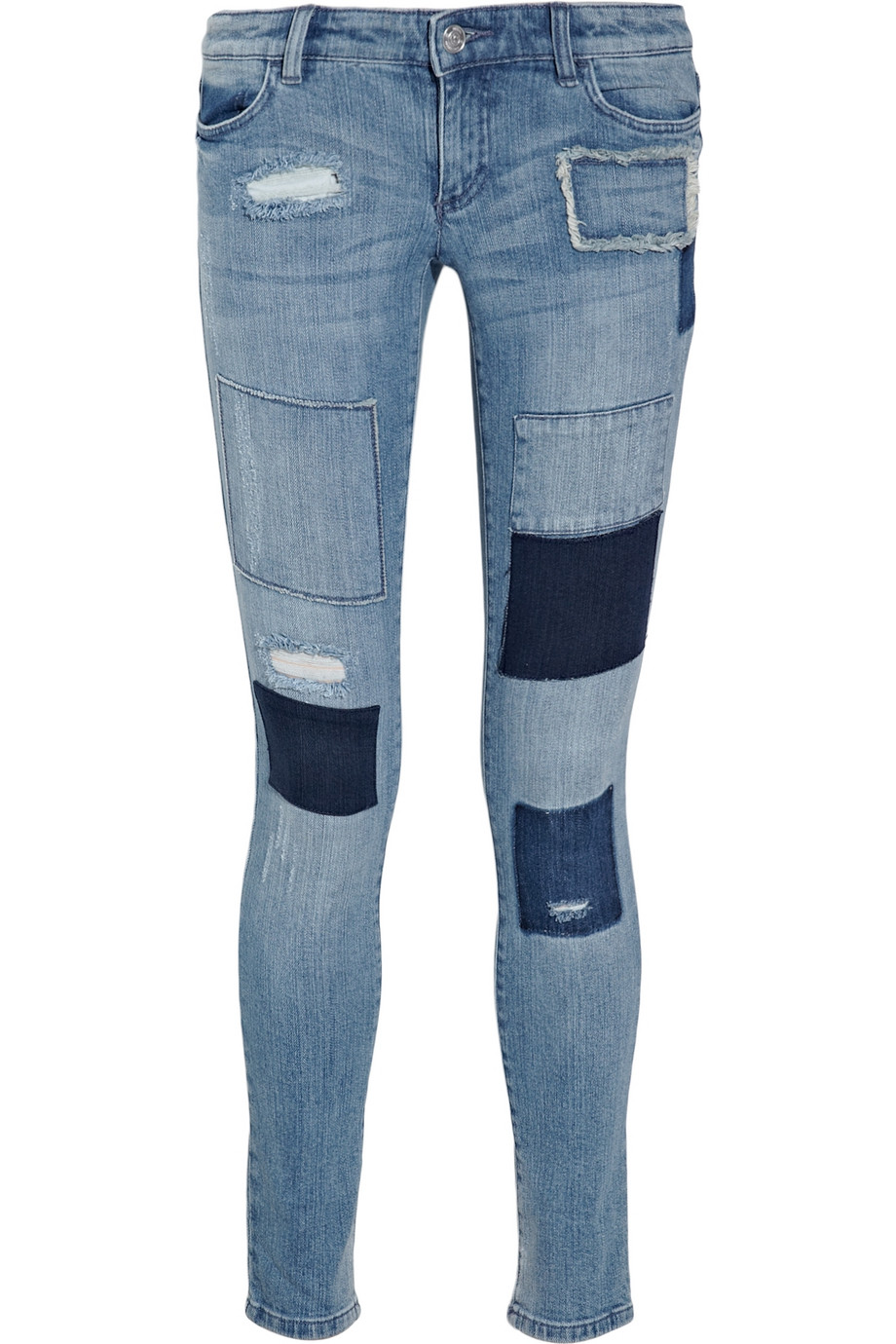 michael michael kors patchwork low rise leggings style jeans in blue lyst. Black Bedroom Furniture Sets. Home Design Ideas