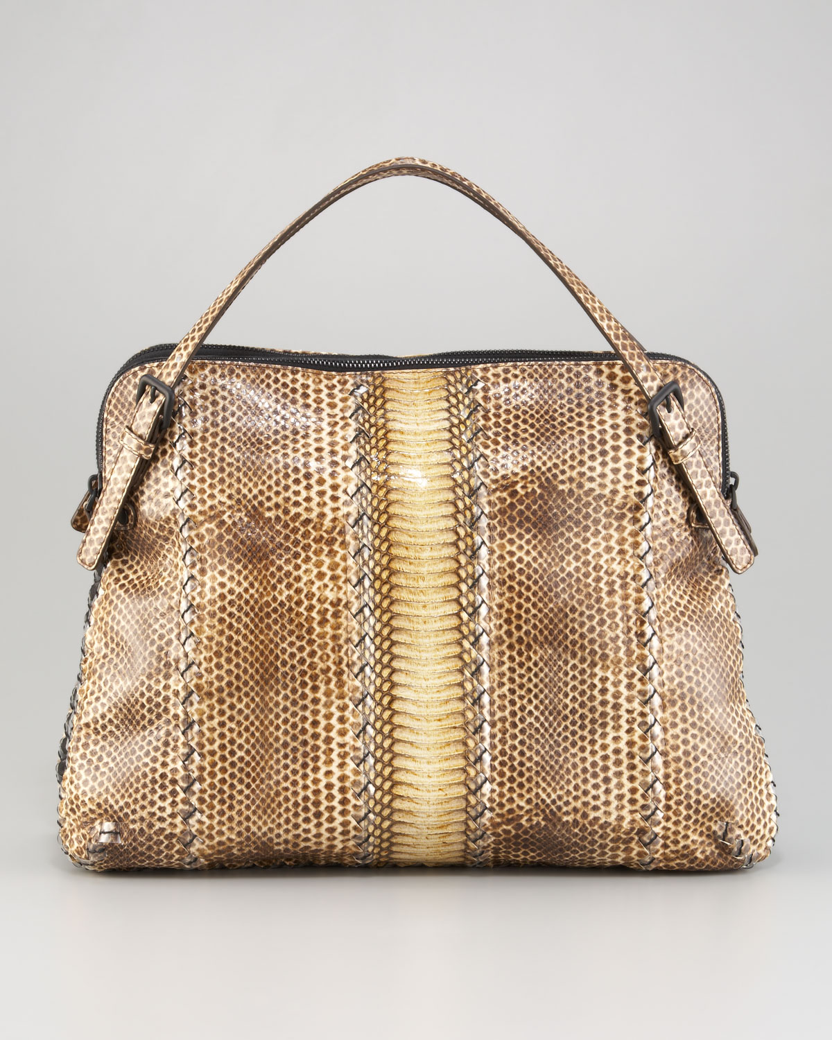 86340918e295 Lyst - Bottega Veneta Snakeskin Top-Handle Bag in Natural
