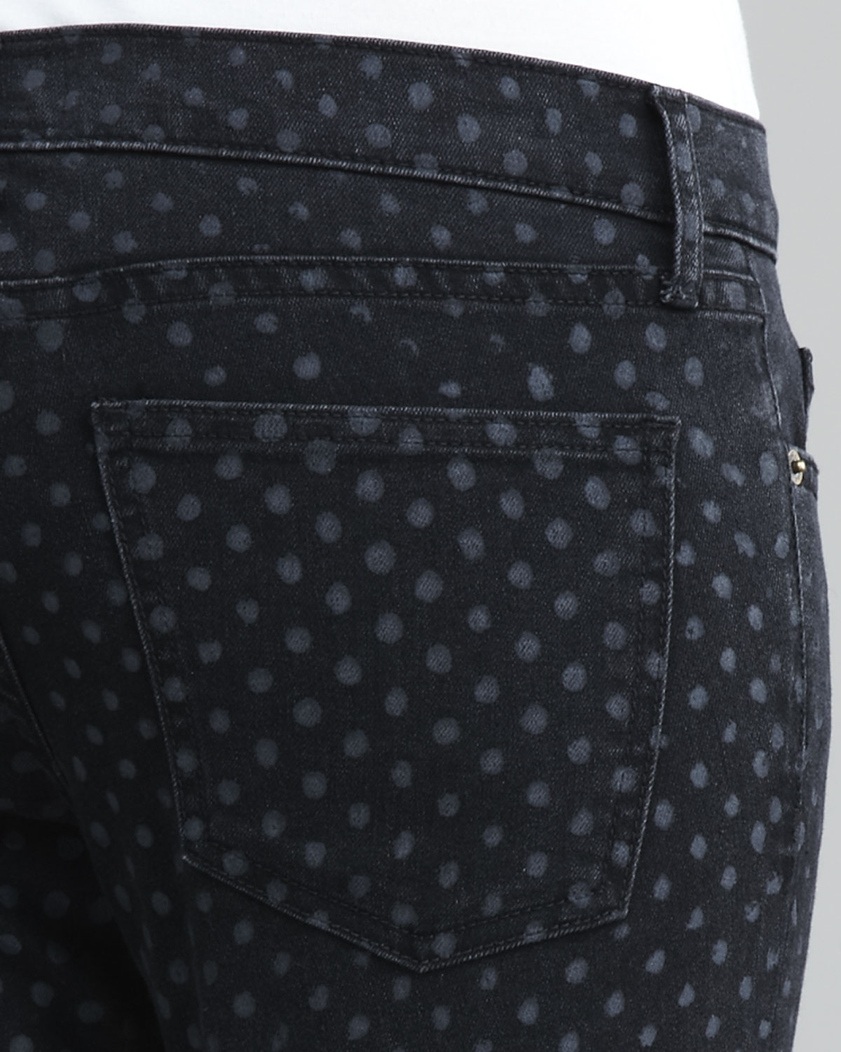Current/elliott The Stiletto Black Polka-dot Jeans in Black | Lyst