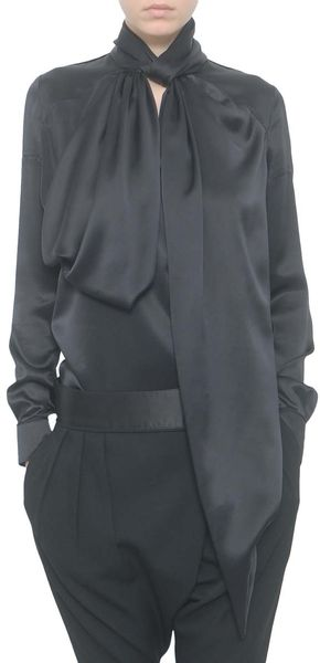 Givenchy Silk Satin Blouse in Black - Lyst