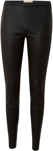 Michael By Michael Kors Skinny Leather Trouser in Black - Lyst