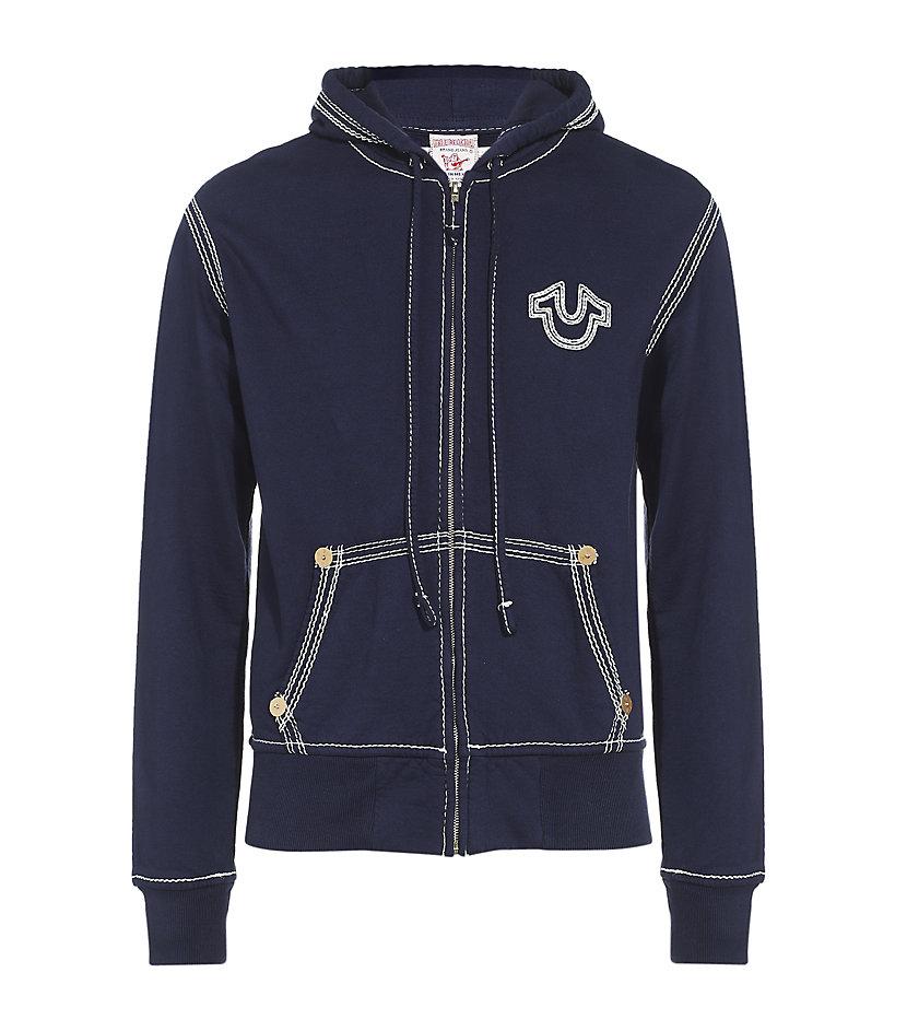 true religion zip hoodie in blue for men navy lyst. Black Bedroom Furniture Sets. Home Design Ideas