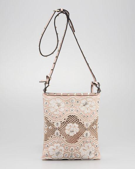 Valentino Rockstud Lace Crossbody Bag in Animal (ivory) - Lyst