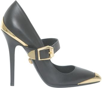 Versace Black and Gold Pumps - Lyst
