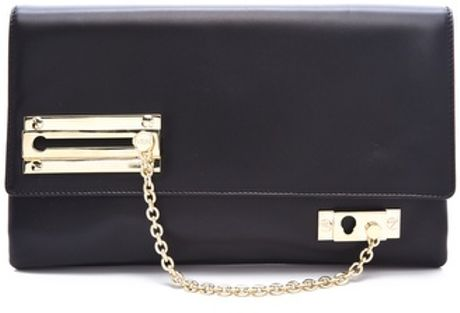 Viktor & Rolf Lock Chain Clutch in Black