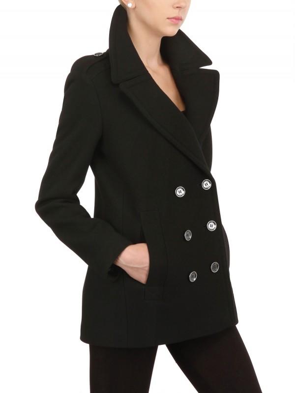 20f85e4db Lyst - Burberry Brit Double Wool Twill Pea Coat in Black