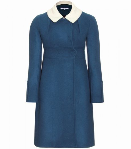 Carven Doulbebreasted Wool Coat with Wool Fleece Collar in Blue - Lyst