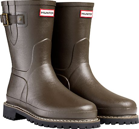Hunter Balmoral Short Wellington Boots Brown In For