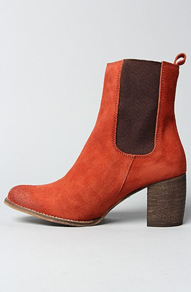 Jeffrey Campbell The Areas Boot In Burnt Orange Suede In