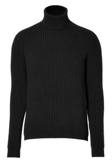Jil Sander Black Ribbed Knit Turtleneck - Lyst