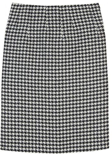 Jil Sander Houndstooth Tweed Skirt in Black