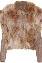 Miu Miu Ribbed Knit Cardigan with Fur Trimmed Overlay