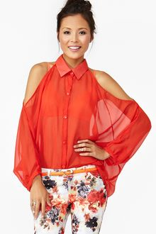 Nasty Gal Open Shoulder Blouse Red - Lyst