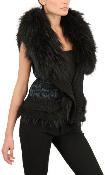 Roberto Cavalli Marmot Fur Wool Cashmere Knit Vest in Black
