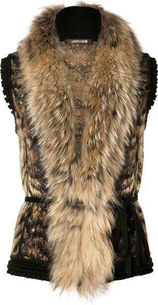 Roberto Cavalli Bronzewhite Fur and Knit Combo Vest in Brown (bronze)