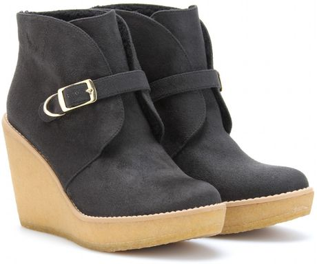 Stella Mccartney Kickapoo Faux Suede Ankle Boots in Gray (black)