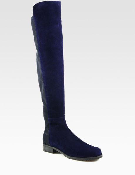 Stuart Weitzman Bicolor Suede Kneehigh Boots in Black (navy) - Lyst