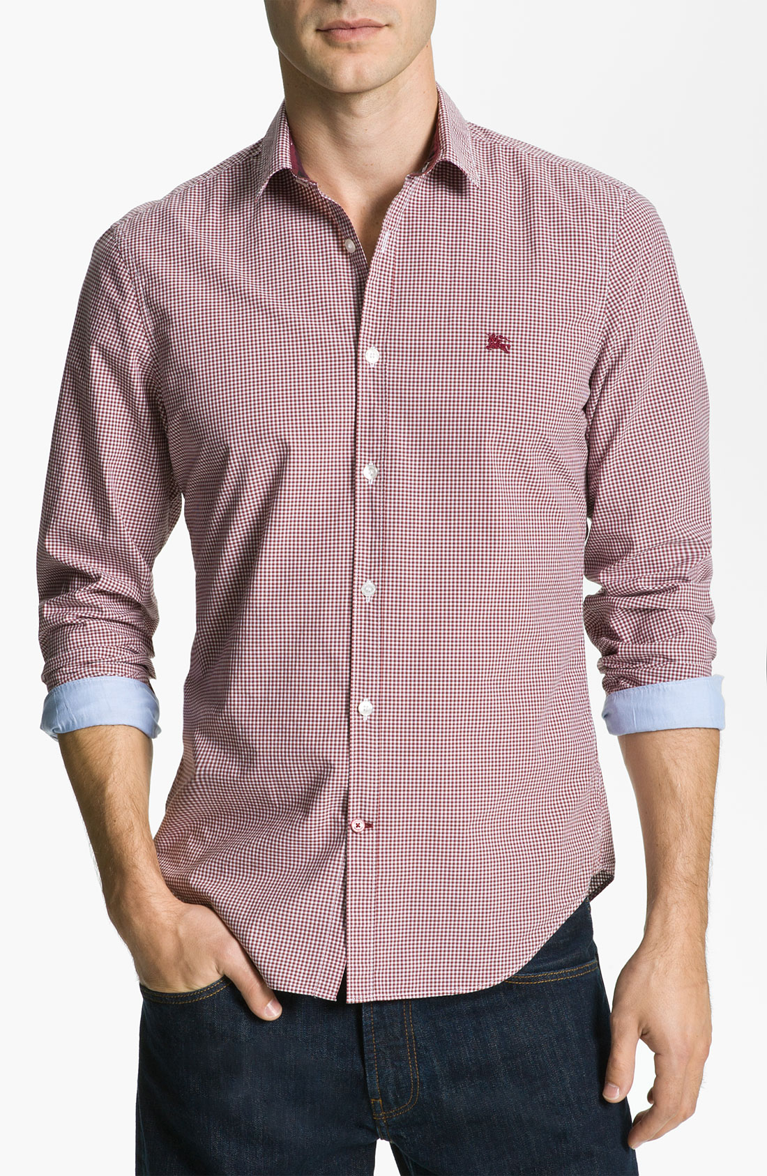 Burberry Brit Brit Trim Fit Sport Shirt in Pink for Men (clove red