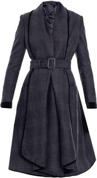Burberry Prorsum Check Waterfall Coat in Gray (charcoal) - Lyst