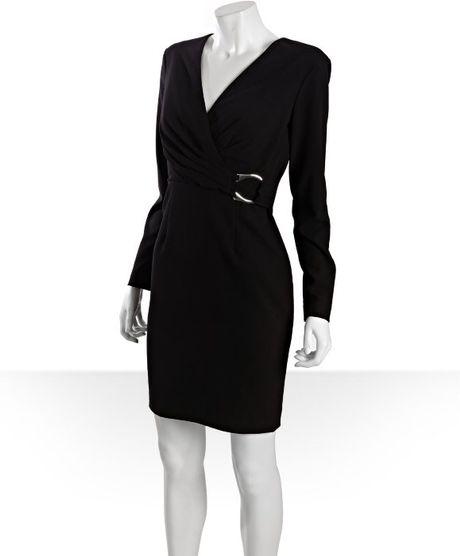 Calvin Klein Black Long Sleeve V Neck Wrap Horse Shoe Ring