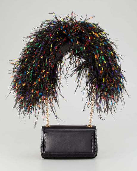 Christian Louboutin Artemis Ostrich Feather Shoulder Bag in Black