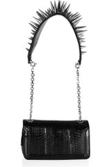 Christian Louboutin Artemis Spiked Water Snake and Leather Shoulder Bag