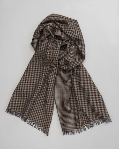 Zegna Hound Stooth Cashmere Silk Scarf Brown in Brown for Men  Lyst Cashmere And Silk Scarves For Men