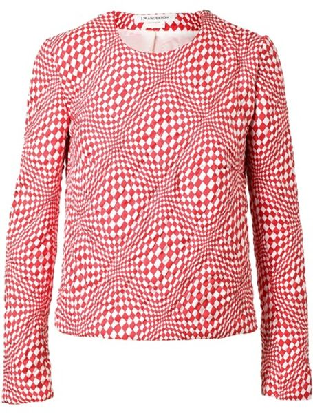 J.w. Anderson Quilted Silk Sweater in Red