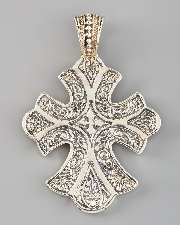 konstantino sterling silver filigree cross pendant in