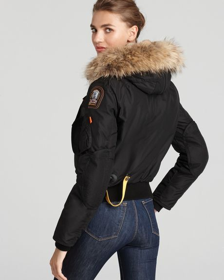 Parajumpers Gobi Down Bomber Jacket With Fur Hood In Black