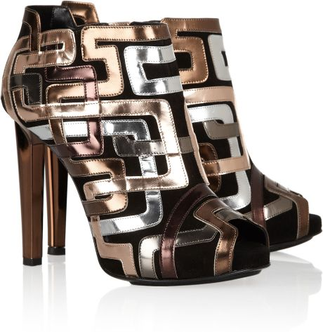 Pierre Hardy Mirrored Leather-Trimmed Suede Ankle Boots in Gold (copper)
