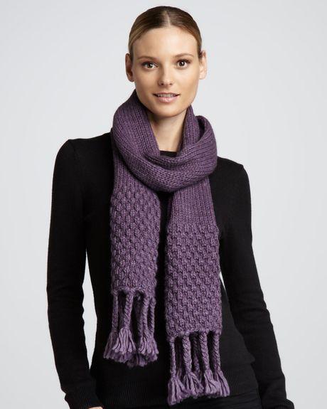 portolano braided fringe knit scarf in purple ametista