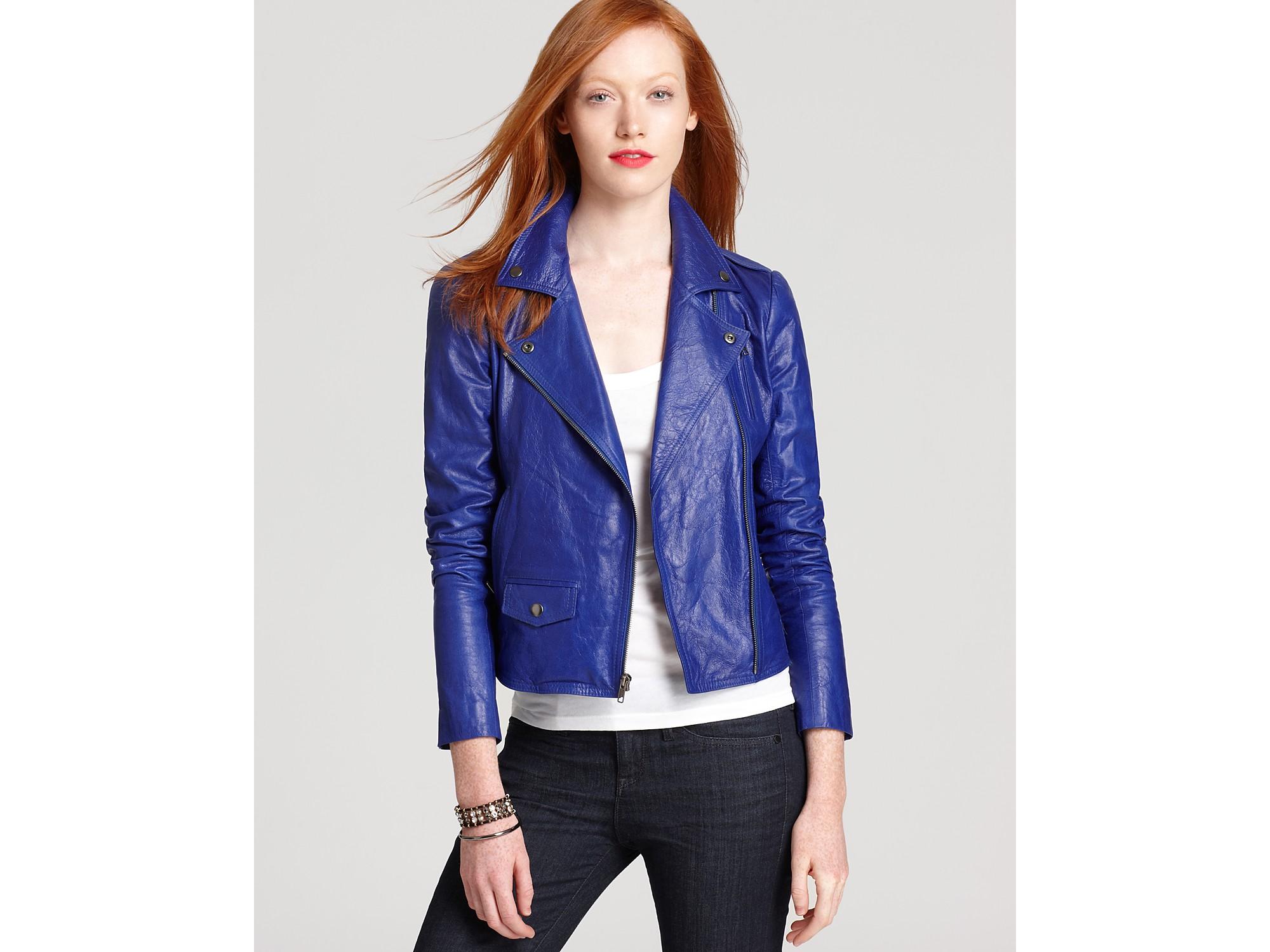 6a0b002cda Theory Elenian Leather Jacket in Blue - Lyst