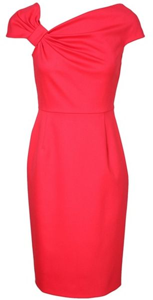 Valentino Fine Wool Bow Dress in Pink (coral)