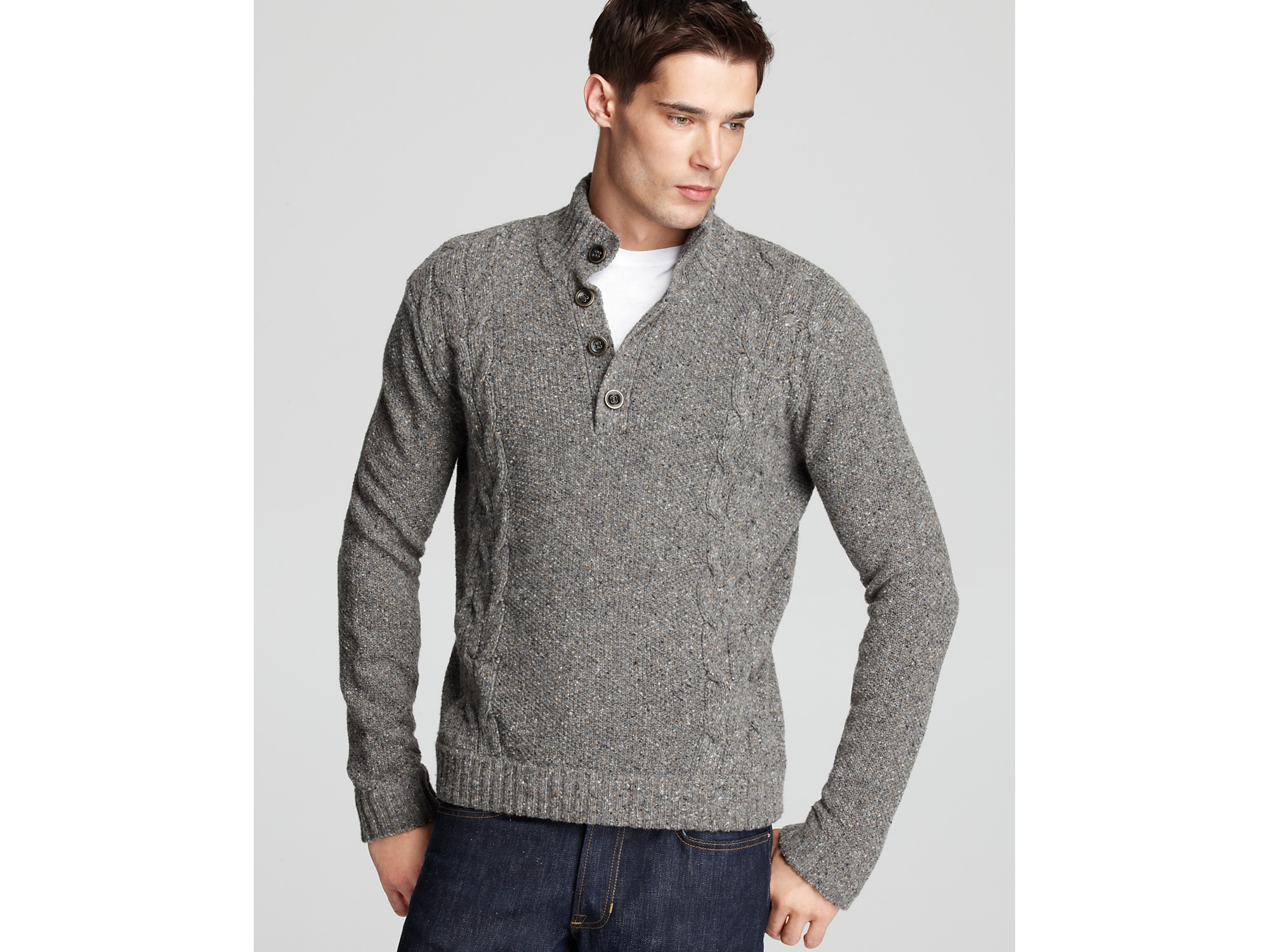 Vince Mock Turtleneck Cable Knit Sweater in Gray for Men | Lyst