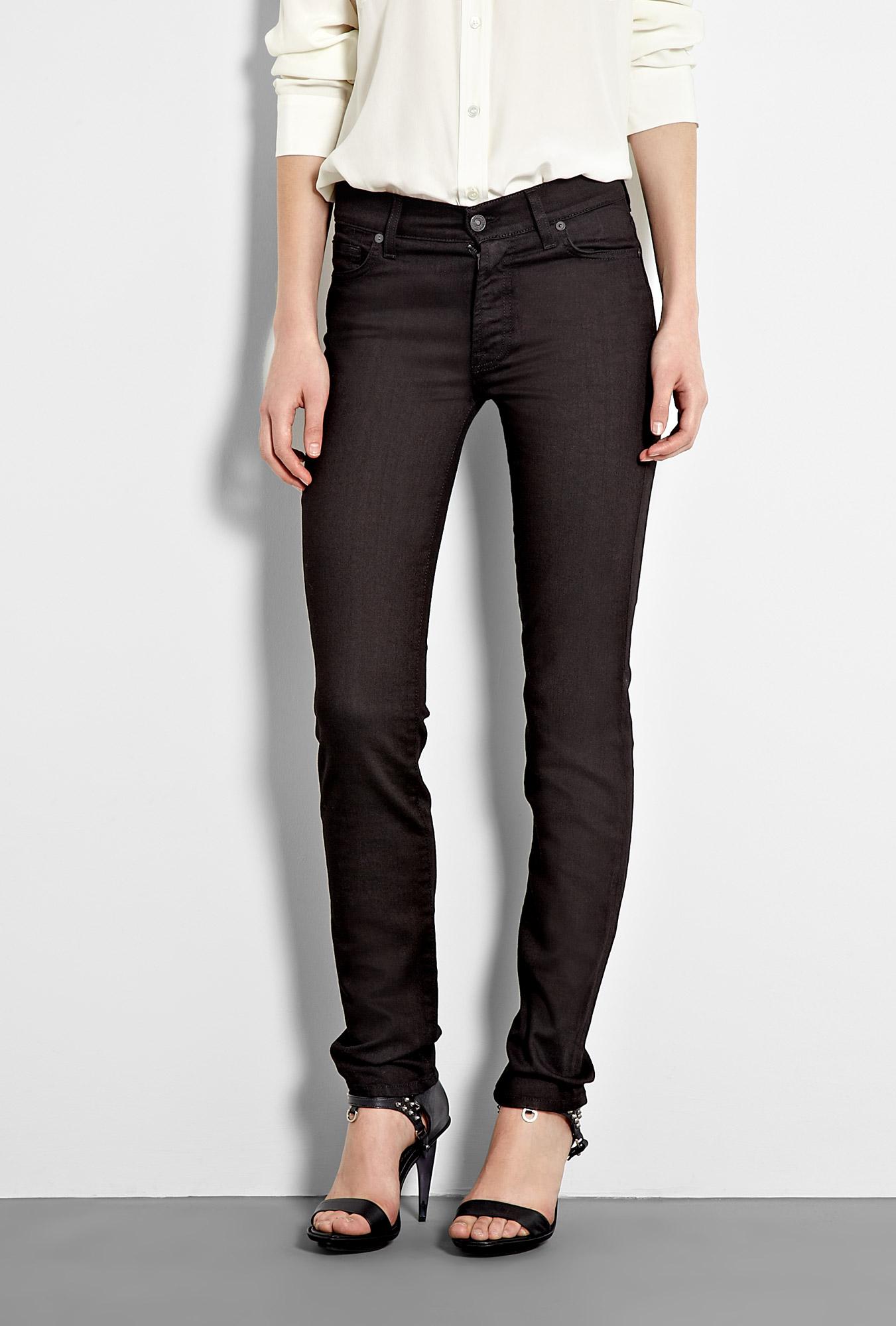 7 for all mankind mid rise roxanne black skinny jean in. Black Bedroom Furniture Sets. Home Design Ideas