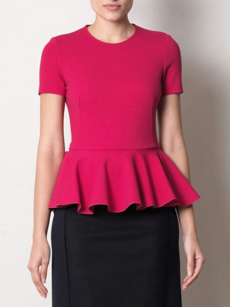 Alexander Mcqueen Peplum Top in Purple (fuchsia) - Lyst